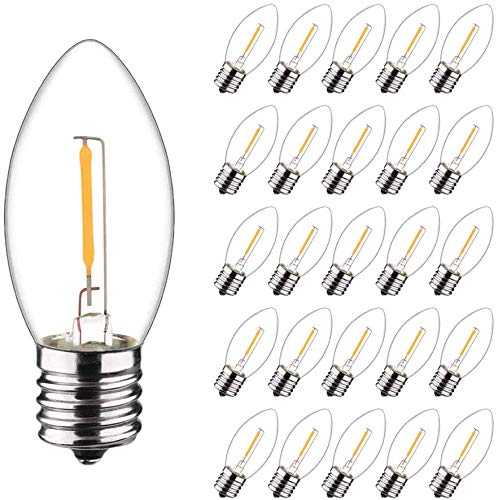 25 Pack-C9 LED Christmas Replacement Light Bulb for Christmas String Light, Dimmable 0.6W Equivalent to 7W, Warm White 2700K, E17 Intermediate Base, Clear Glass (C9-25 Pack)