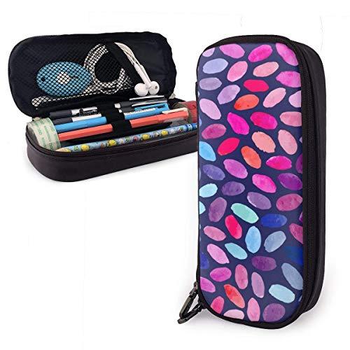 Color piedra pintura pu cuero lápiz caso gran capacidad impermeable con cremalleras papelería organizador multifunción cosmética bolsa de maquillaje para escuela oficina