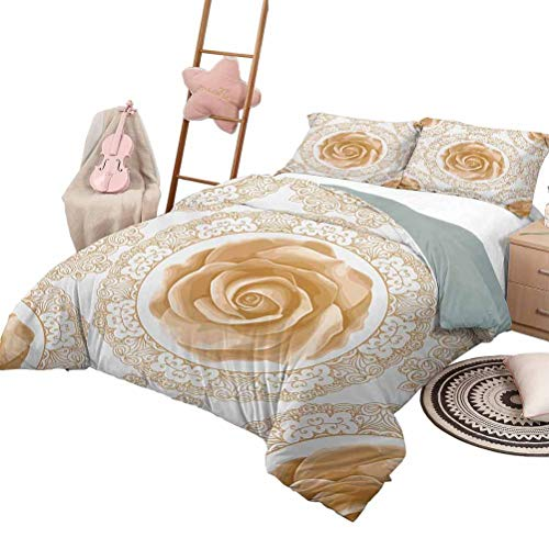 DayDayFun Quilt Set Floral 3 Piece Bedspreads Coverlet Rose Florets with Classic Golden Lace Authentic Feminine Retro Oriental Motif Queen Size Sand Brown White