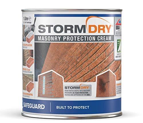 Stormdry Fassadenschutzcreme 1L- 25 Jahre Schutz gegen Feuchtigkeit - die einzige BBA zertifizierte Mauer & Stein Imprägnierung mit Hydrophobierender Wirkung - reduziert Energieverlust - stoppt Nässe