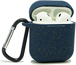 AirSha Compatible for AirPods Case with Keychain,Shockproof Protective Silicone Cover Skin for AirPods Charging Case 2 & 1 (AirPods 1, Glitter Midnight Blue)