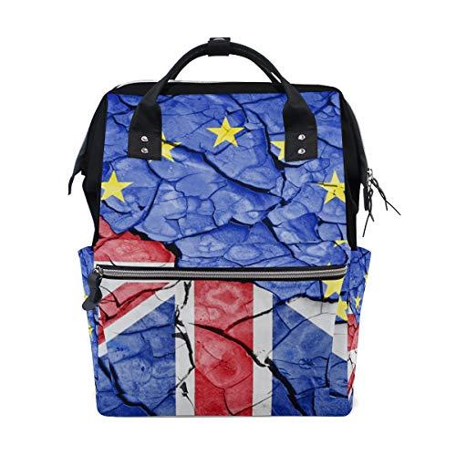 Europese Unie Vlag Gebarsten Bodem Rugzak Luiertas Tas voor Moeder Vrouwen Baby Nappy Tas Reizen Rugzak Grote School Laptop Wandelen Tas Outdoor