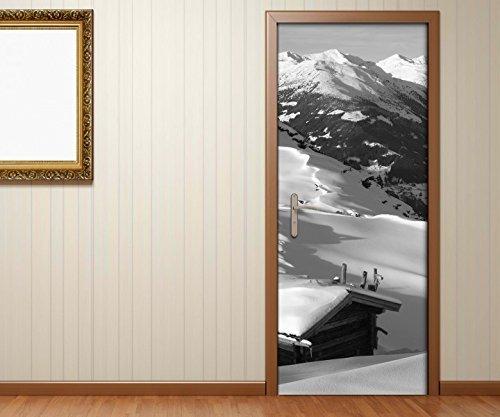 Türaufkleber Landschaft Berg Alpen Schnee Ski schwarz weiß Tür Bild Türposter Türfolie Türtapete Poster Aufkleber 15A1439, Türgrösse:90cmx200cm