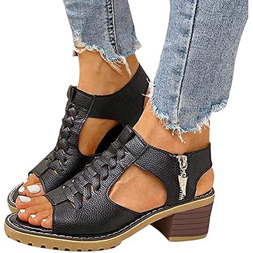 LLKJT Mujer Sandalias Cuña Comodas Talón Pendiente Fondo Grueso Sandalia Casual Zapatos de Playa Retro Sandalias,Negro,36