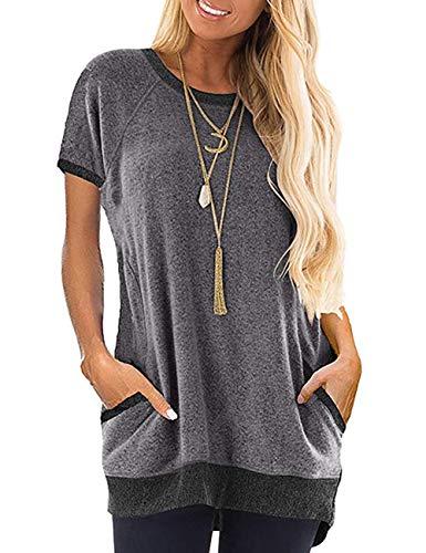 MUCOO Blusa informal de manga corta con cuello redondo y bolsillo para mujer, túnica, diseño color block Gris 1# gris profundo 36