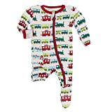 KicKee Pants Print Footie with Zipper, Fitting Long Sleeve Pajama Baby Bodysuit, Ultra Soft Everyday Onesie Loungewear, Baby Clothes for Boys and Girls (Natural Toy Train - 9-12 Months (Infant))