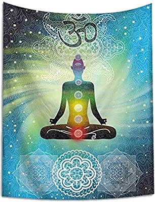 Indian Seven Chakras Meditation Tapestry Yoga Studio Room Decorations Inner Peace Wall Hanging Poster Reiki Spiritual Healing Gift for Friend(Bohemia, 50Wx60L)