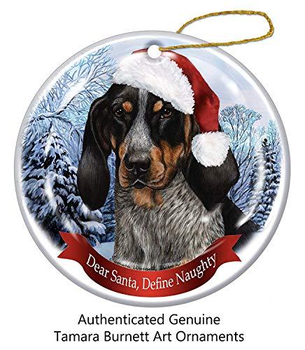 Tamengi Weihnachtsbaum-Ornament mit blauem Zecken, Coonhound Nikolausmütze, Porzellan