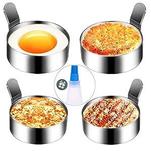 Hanamichi Anillo de huevo, 4 pcs Inoxidable Tortilla de cocina de molde antiadherente molde de huevo frito Herramienta de cocción de anillo de metal para muffins de huevo/panqueques/tortillas y más