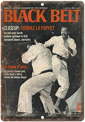 Modtory Black Belt Magazine Karate Blechschild Warnschild Wandschild Dekoration – 20,3 x 30,5 cm