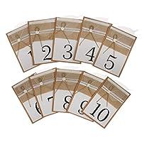 joyMerit 1-10ナンバーズプレイスカードクラフトリネンペーパーリーフバーラップウェディングセレモニーテーブルマーカーパック10個