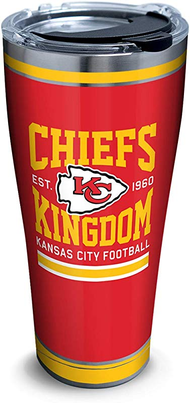 Tervis 1325213 NFL Kansas City Chiefs Slogan Stainless Steel Insulated Tumbler With Lid 30 Oz Silver
