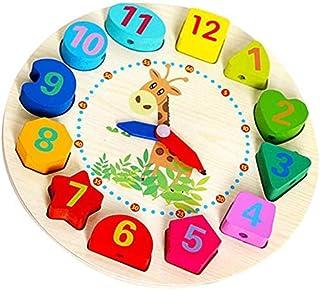 ساعة فرز الأشكال الخشبية للتعليم رقم الوقت مكعبات ألوان الحيوان لغز تجميع الصور مونتيسوري التعلم المبكر ألعاب هدية للأطفال...