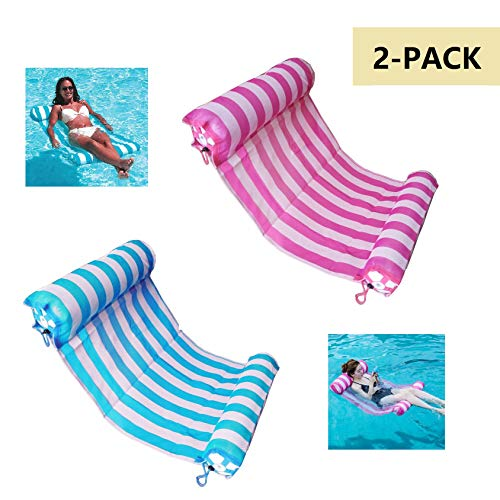 AIWAN LEZHI 2-Pack(Pink,Blue) Premium Swimming Pool Float Hammock, Comfortable Inflatable Swimming Pools Lounger, Water Hammock Lounge