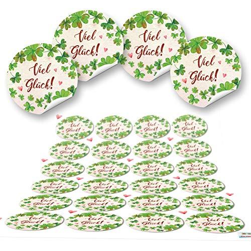 24 Kleeblatt VIEL GLÜCK rot grün natur runde 4 cm Aufkleber selbstklebende Etiketten Geschenkaufkleber Verpackung Hochzeit Weihnachten Silvester