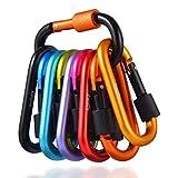 Zalava 10 Stück Karabiner mit Schraubverschluss, Aluminium Schlüsselanhänger Karabinerhaken, Schraubkarabiner für Camping, Angeln, Wandern Oder Reisen