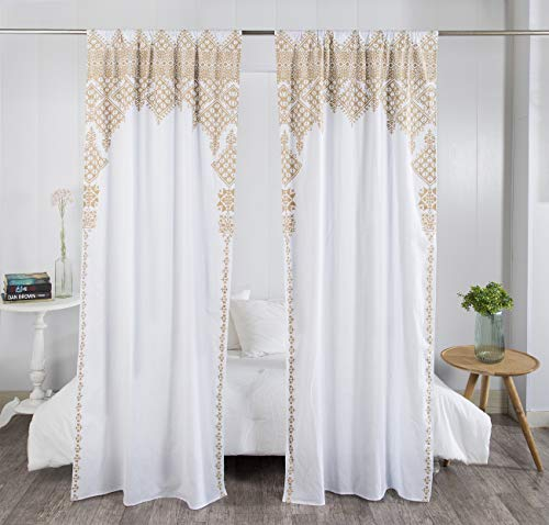 "Madhu International Set of 2 Bohemian Curtains - Handmade Cotton Indian Tapestry Curtains - Curtain Drape With Rod Pocket - Floral Printed Mandala Curtain Panel for Living Room - White Gold, 41"" X 87"""