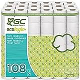 Gcecologic+ Papel higiénico doméstico, de celulosa reciclada: 108 rollos de 18 m. c/u; 1944 metros totales de papel de baño
