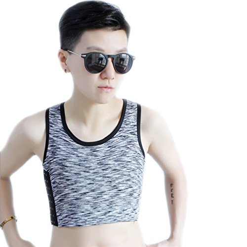 BaronHong Tomboy Trans Lesbische Baumwolle Brust Binder Plus Size Short Tank Top mit stärkeren Gummiband (LightGray, M)