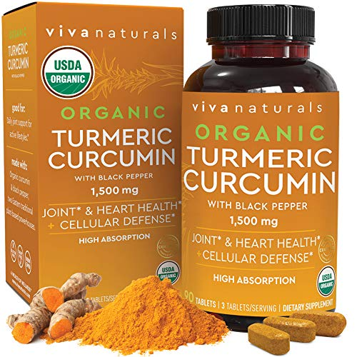 Organic Turmeric Curcumin Supplement 1 500mg (90 Tablets) | with Black Pepper for Superior Absorption  High Potency Standardized to 95% Curcuminoids  Natural Joint Support