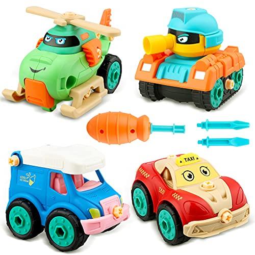 aovowog Coches de Juguetes Camion Juguete Vehículos de Construcción,4 In 1 Ensamblarde Juguetes Bebe Tractores Avión Juguete con Destornillador,Regalos para Niños