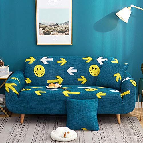 4 Plazas Funda de Sofá Smiley Amarillo, Azul Funda de Sofá Funda Elástica para Sofá Antideslizante Funda Sofá Printed Prueba de Polvo Sofá Cojín Protector Cubierta de Muebles