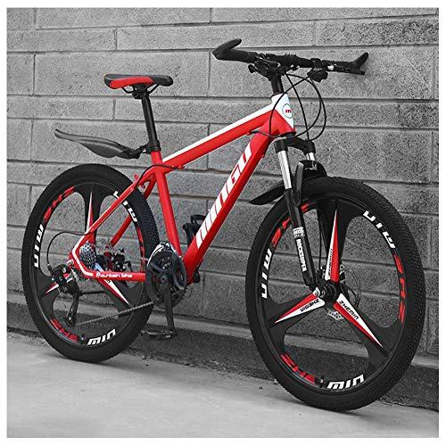 Unbekannt Mountain Bikes, 26-Zoll-High-Carbon Stahl Hardtail Mountainbike, Berg Fahrrad mit Federung vorne Adjustable Seat,Rot,27speed