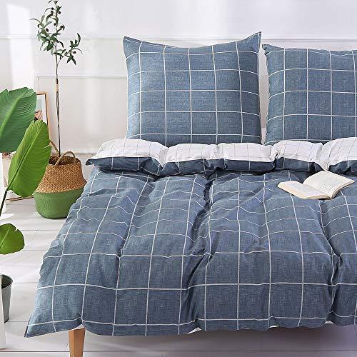 Unimall 3 Teilige Wende - Bettwäsche Set 200 x 200 cm Renforce Baumwolle + 80x80 cm*2 mit Karo Muster Grau