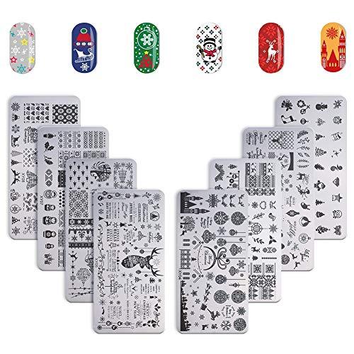 Hellomagic - Set di 8 piatti natalizi per stampaggio unghie su entrambi i lati, con stampa di neve