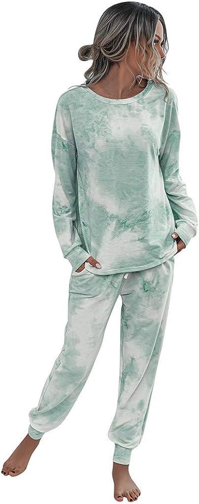 Sweatsuit Set for Women,Tie-Dye Pajamas Soft Long Sleeve Pullover Sleepwear Loungewear PJ Set Leisure Night wear