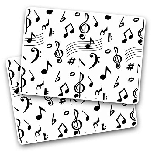 Awesome Rectangle Stickers(Set of 2) 7.5cm - Music Notes Pattern Band Musician Fun Decals for Laptops,Tablets,Luggage,Scrap Booking,Fridges,Cool Gift #45817