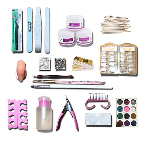 Godob 1 Set 12 Couleurs Poudre Nail Art Tool Set Nail Tips Brosse Manucure Tool Kit Maquillage Accessoires