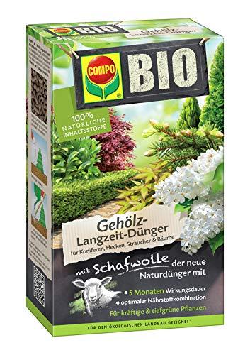 Compo BIO Gehölz-Langzeit-Dünger mit Schafwolle für Koniferen, Hecken, Sträucher & Bäume, 5 Monate Langzeitwirkung, 2 kg