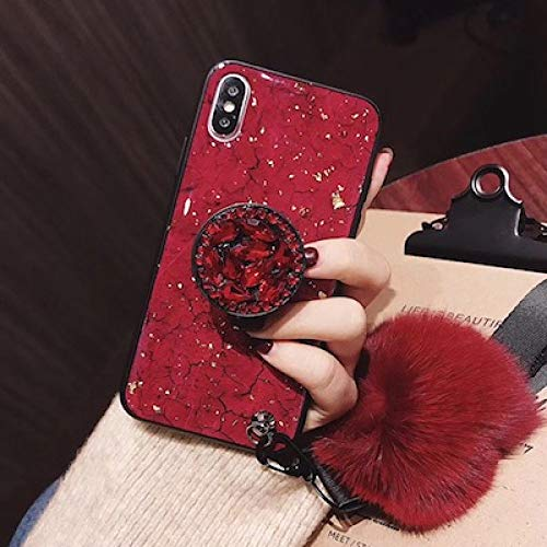 SJKDM Caja del teléfono móvil para iPhone 11 2019 X XS MAX XR 6 7 8 Plus para Samsung s8 s9 s10 Plus Nota 10 9 8 Funda Lujosa Elegante con Pompones de Diamantes para iPhone X XS-Rojo