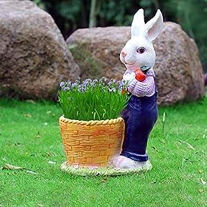 GOLDACE Garden Statue Rabbit Figurine, Cute Flower Pot Lawn Sculpture Outdoor Decor/Yard Art Decoration for Patio, Sympathy Gift, Housewarming Gift