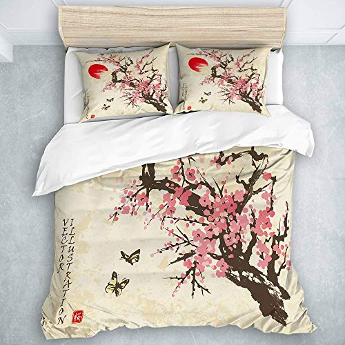 Jojun Duvet Cover Set, Spring Sakura Cherry Blossom with Butterflies in Traditional Japanese Sumi-E Style On Vintage, Luxury Microfiber Down Comforter 3 Pieces
