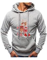 FRAUIT söta jultröjor män långärmad höst vinter jul luvtröja sweatshirt casual tryckt med Rudolph ren snögubbe pullover för män och kvinnor