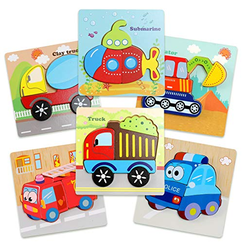 OleOletOy Holzpuzzle Montessori Baby Spielzeug für Kinder ab 3 Jahren, 6 Stück Steckpuzzle Holz Quadrat Fahrzeuge Puzzle, Junge Mädchen Geburtstag Weihnachten Ostern Geschenk