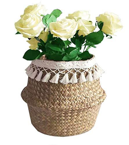 Cesta de almacenamiento SZETOSY natural de hierba marina – Cesta para el vientre con borla blanca plegable tejida con asa para lavandería, juguetes o plantas, guardería, Estilo#1, 32x28cm