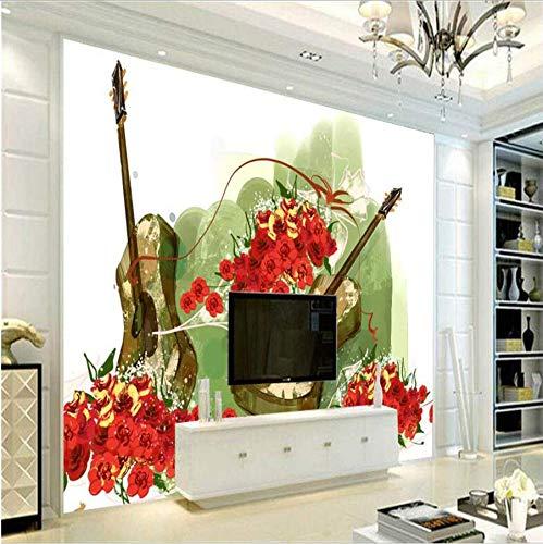 Zybnb behang 3D gratis inkt bloemen gitaar 3D muur muurschilderingen bed kamer voor restaurant keuken tv achtergrond moderne niet-geweven