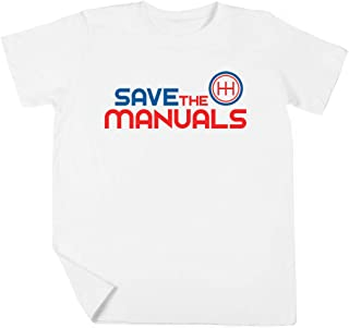 Save The Manuals Niño Niña Unisexo Blanco Camiseta Manga Corta Kids White T-Shirt