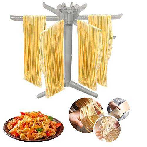 Nudeltrockner, mit 6 zusammenklappbaren Stangengriffen, selbstgemachtes Nudeltrockner, frischer Nudelhersteller Spaghetti-Trocknerständer Nudeltrocknerhalter Grau