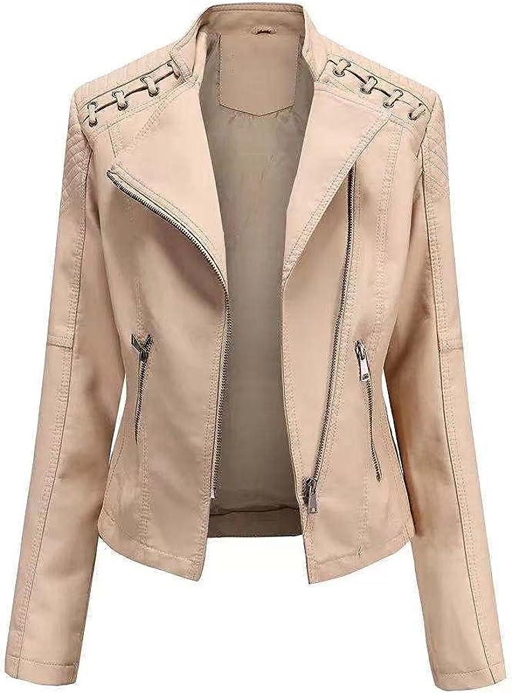 Women's Autumn Winter Faux Leather Zipper Biker Outerwear Trench Coat