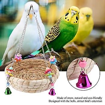 TOPINCN Parrot Swing Nest Safe Paille Durable Coffre Non-Toxique Réutilisable Durable Oiseau Inséparable Bite Jouet Panier Lit Suspendu Cage À Oiseaux