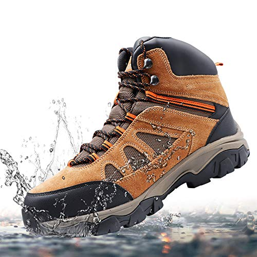 KECLOUD Men's Waterproof Hiking Boots, Lightweight, Suede Leather Ankle Mountaineering Boots for Outdoor Trailing, Trekking, Walking (Brown, numeric_9)