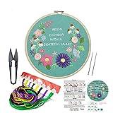 Handmade Embroidery Starter Kit Set mit Partten, einschließlich Stickerei, Bambus Stickrahmen, Farbfäden & anderen Tools Kit für Anfänger