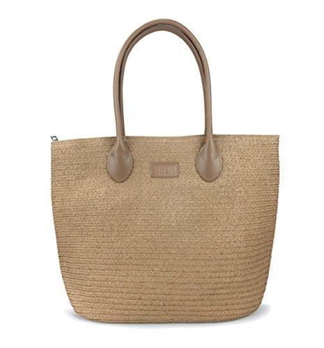 "Straw Rattan Women Tote Summer Beach Shoulder Handbag Medium Size 17.8''x12.6""x5.1"" (Brown)"