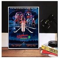 エルム街の悪夢3-ドリームウォー映画クラシックポスター写真アートワークキャンバスにプリントバースデーギフト50x70cmフレームなし