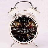 A Nightmare on Elm Street P1エルムストリートP1の悪夢 大音量 目覚まし時計 バックライト 静か 連続秒針 スヌーズ 電池式 置き時計 卓上時計直径約4インチ(ホワイト)