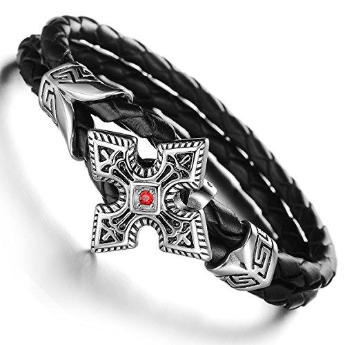 JewelryWe Schmuck geflochten Leder Armband, Punk Stil Kreuz 2 Lederkette Lederarmband Damen Herren Armreif, Schwarz Silber 19,7cm, mit Geschenk Tüte